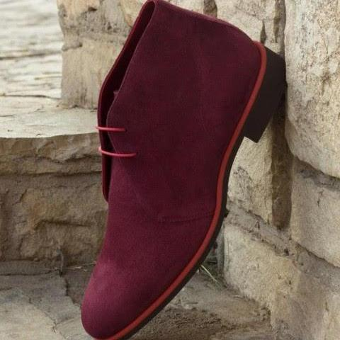 Handmade Latest Descent Burgundy Suede Chukka Boot Collection For Adult