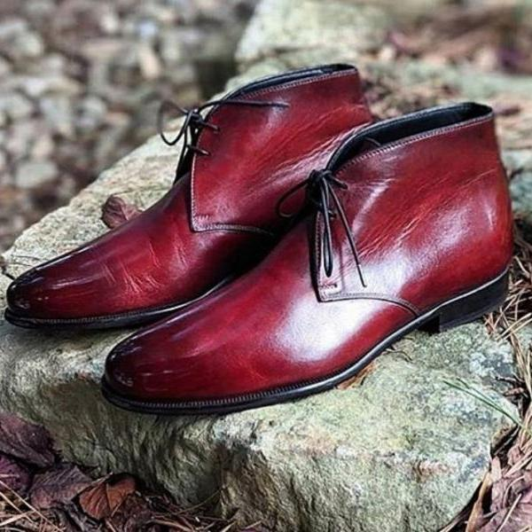 Handmade Awesome Burgundy Fashion Dress Up Formal Chukka Boot