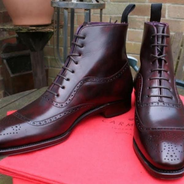 Handmade Awesome Dark Brown Cap Toe Brogue Ankle High Lace Up Boot in Genuine Leather